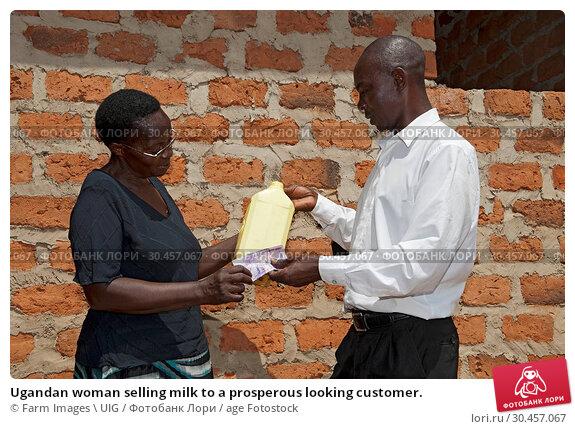 Ugandan woman selling milk to a prosperous looking customer. Стоковое фото, фотограф Farm Images \ UIG / age Fotostock / Фотобанк Лори