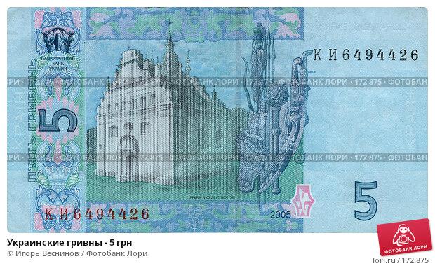 Украинские гривны - 5 грн, фото № 172875, снято 24 мая 2017 г. (c) Игорь Веснинов / Фотобанк Лори