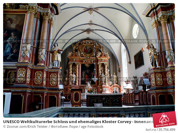 UNESCO Weltkulturerbe Schloss und ehemaliges Kloster Corvey - Innenansicht... Стоковое фото, фотограф Zoonar.com/Erich Teister / age Fotostock / Фотобанк Лори