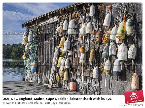 Купить «USA, New England, Maine, Cape Neddick, lobster shack with buoys.», фото № 29087663, снято 17 июля 2017 г. (c) age Fotostock / Фотобанк Лори