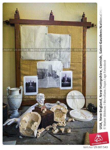 Купить «USA, New England, New Hampshire, Cornish, Saint-Gaudens National Historic Site, former home of 19th century sculptor, Augustus Saint-Gaudens, The Little Studio, plaster models.», фото № 29087543, снято 2 октября 2017 г. (c) age Fotostock / Фотобанк Лори