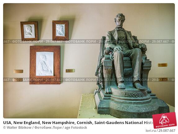 Купить «USA, New England, New Hampshire, Cornish, Saint-Gaudens National Historic Site, former home of 19th century sculptor, Augustus Saint-Gaudens, New Gallery, sculpture of Abraham Lincoln.», фото № 29087667, снято 2 октября 2017 г. (c) age Fotostock / Фотобанк Лори