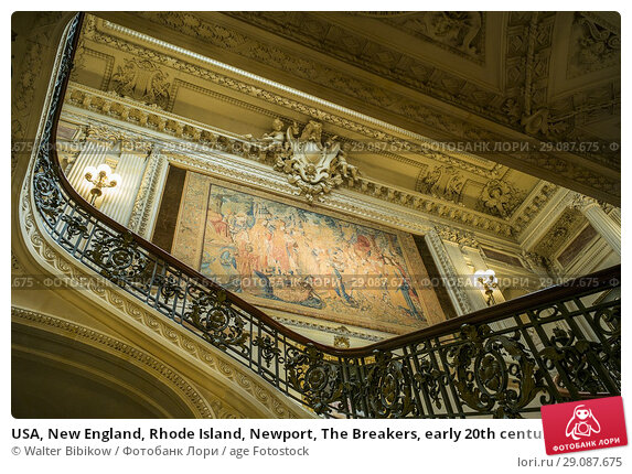Купить «USA, New England, Rhode Island, Newport, The Breakers, early 20th century mansion of the Vanderbilt family, interior staircase.», фото № 29087675, снято 2 июня 2017 г. (c) age Fotostock / Фотобанк Лори