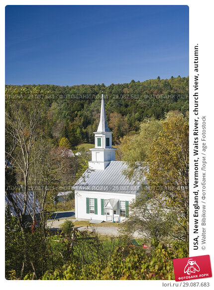 Купить «USA, New England, Vermont, Waits River, church view, autumn.», фото № 29087683, снято 3 октября 2017 г. (c) age Fotostock / Фотобанк Лори
