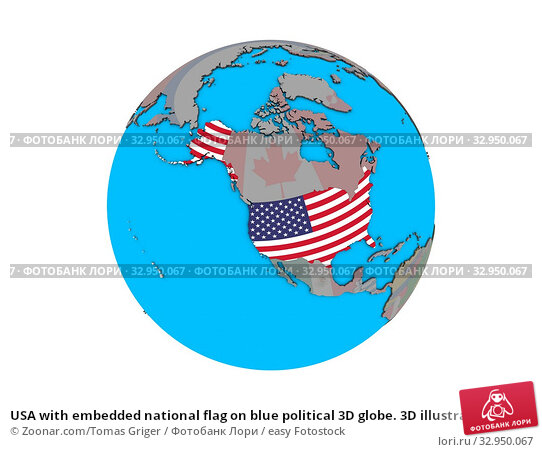 USA with embedded national flag on blue political 3D globe. 3D illustration isolated on white background. Стоковое фото, фотограф Zoonar.com/Tomas Griger / easy Fotostock / Фотобанк Лори