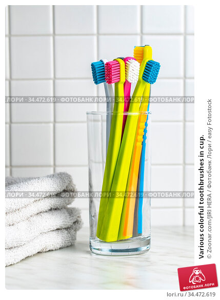 Various colorful toothbrushes in cup. Стоковое фото, фотограф Zoonar.com/JIRI HERA / easy Fotostock / Фотобанк Лори