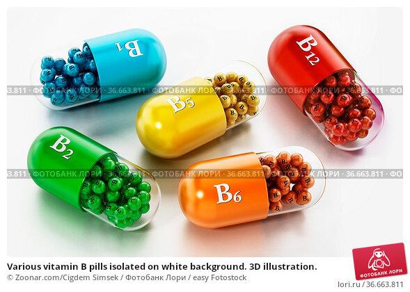 Various vitamin B pills isolated on white background. 3D illustration. Стоковое фото, фотограф Zoonar.com/Cigdem Simsek / easy Fotostock / Фотобанк Лори