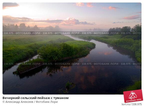 Вечерний сельский пейзаж с туманом, эксклюзивное фото № 338975, снято 27 июня 2008 г. (c) Александр Алексеев / Фотобанк Лори