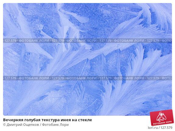 Купить «Вечерняя голубая текстура инея на стекле», фото № 127579, снято 23 декабря 2006 г. (c) Дмитрий Ощепков / Фотобанк Лори