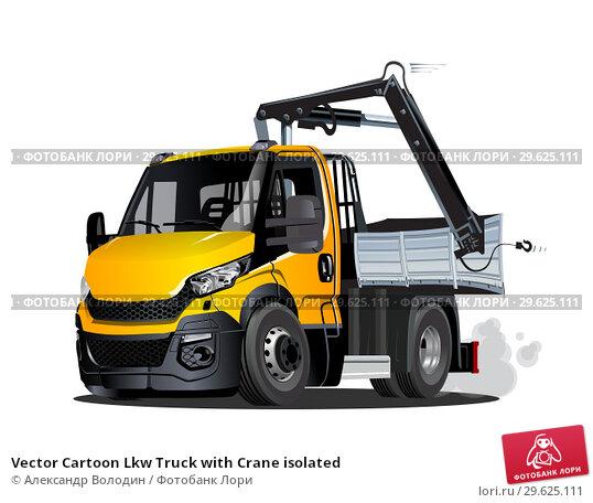 Купить «Vector Cartoon Lkw Truck with Crane isolated», иллюстрация № 29625111 (c) Александр Володин / Фотобанк Лори