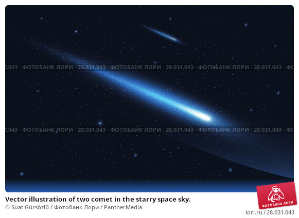 Купить «Vector illustration of two comet in the starry space sky. », иллюстрация № 28031043 (c) PantherMedia / Фотобанк Лори