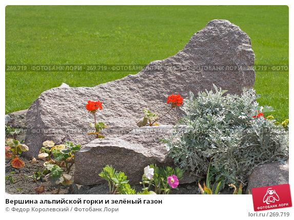 Вершина альпийской горки и зелёный газон, фото № 269719, снято 1 мая 2008 г. (c) Федор Королевский / Фотобанк Лори
