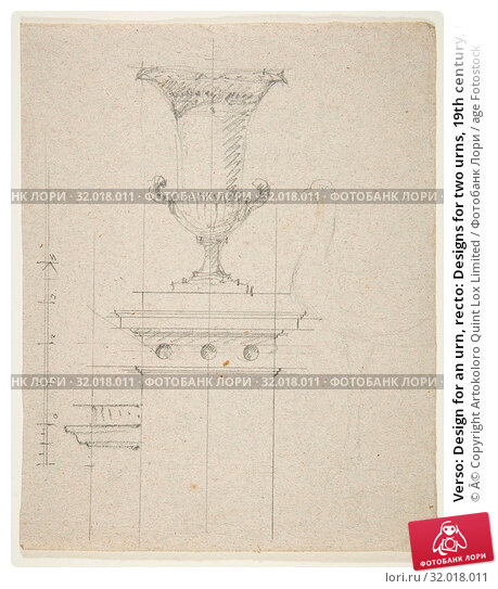 Купить «Verso: Design for an urn, recto: Designs for two urns, 19th century, Black chalk on laid paper, sheet: 9 13/16 x 7 13/16 in. (25 x 19.8 cm), Drawings, Anonymous, French, 19th century», фото № 32018011, снято 26 апреля 2017 г. (c) age Fotostock / Фотобанк Лори