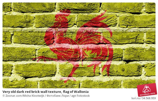 Very old dark red brick wall texture, flag of Wallonia. Стоковое фото, фотограф Zoonar.com/Micha Klootwijk / age Fotostock / Фотобанк Лори