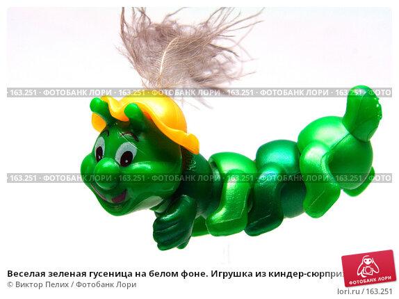 Веселая зеленая гусеница на белом фоне. Игрушка из киндер-сюрприза (4378), фото № 163251, снято 15 декабря 2007 г. (c) Виктор Пелих / Фотобанк Лори