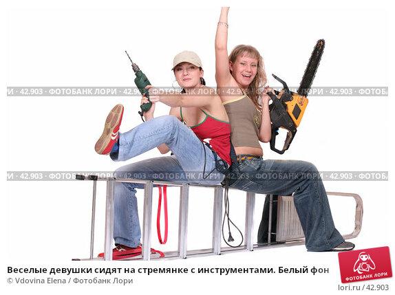 Веселые девушки сидят на стремянке с инструментами. Белый фон, фото № 42903, снято 31 марта 2007 г. (c) Vdovina Elena / Фотобанк Лори
