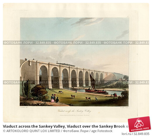 Купить «Viaduct across the Sankey Valley, Viaduct over the Sankey Brook on the railway Liverpool and Manchester, signed: T. T. Bury (del.), H. Pyall (sculp.),...», фото № 32849835, снято 12 июля 2020 г. (c) age Fotostock / Фотобанк Лори