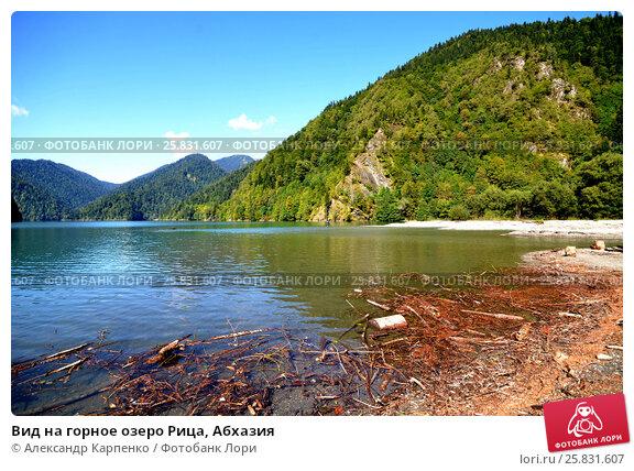 Купить «Вид на горное озеро Рица, Абхазия», фото № 25831607, снято 26 сентября 2014 г. (c) Александр Карпенко / Фотобанк Лори