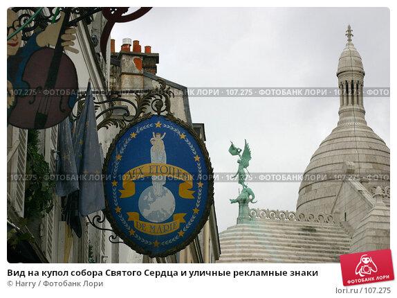 Вид на купол собора Святого Сердца и уличные рекламные знаки, фото № 107275, снято 27 февраля 2006 г. (c) Harry / Фотобанк Лори