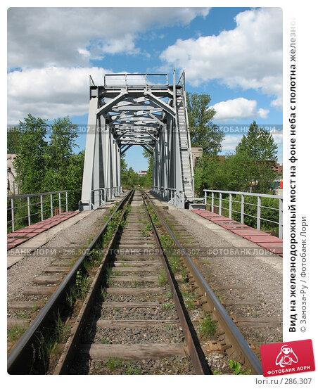 Вид на железнодорожный мост на фоне неба с полотна железной дороги, фото № 286307, снято 13 мая 2008 г. (c) Заноза-Ру / Фотобанк Лори
