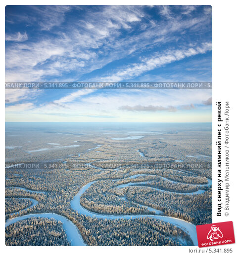 Вид сверху на зимний лес с рекой, фото № 5341895, снято 20 января 2012 г. (c) Владимир Мельников / Фотобанк Лори