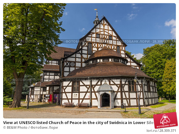 Купить «View at UNESCO listed Church of Peace in the city of Swidnica in Lower Silesian Voivodeship of south-western Poland», фото № 28309371, снято 19 декабря 2018 г. (c) BE&W Photo / Фотобанк Лори