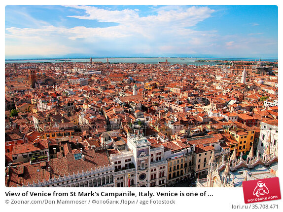 View of Venice from St Mark's Campanile, Italy. Venice is one of ... Стоковое фото, фотограф Zoonar.com/Don Mammoser / age Fotostock / Фотобанк Лори