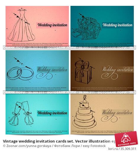 Vintage wedding invitation cards set. Vector illustration eps8. Стоковое фото, фотограф Zoonar.com/yunna gorskaya / easy Fotostock / Фотобанк Лори
