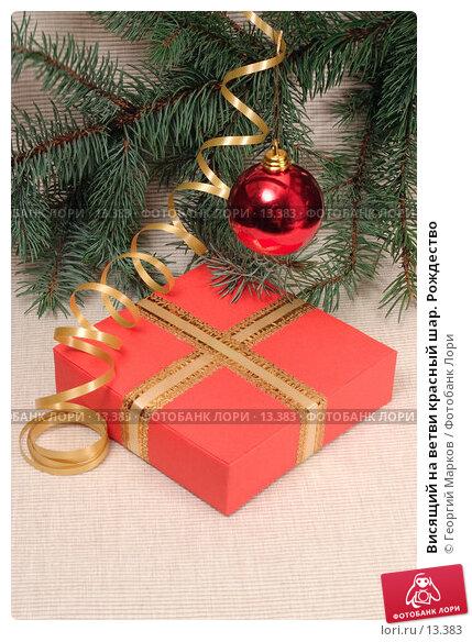 Висящий на ветви красный шар. Рождество, фото № 13383, снято 11 ноября 2006 г. (c) Георгий Марков / Фотобанк Лори