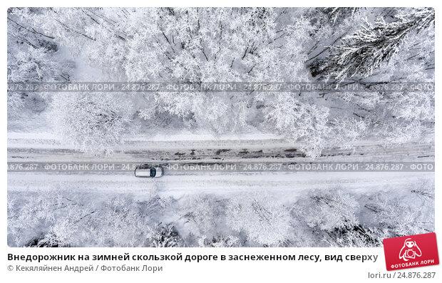 Внедорожник на зимней скользкой дороге в заснеженном лесу, вид сверху, фото № 24876287, снято 4 января 2017 г. (c) Кекяляйнен Андрей / Фотобанк Лори