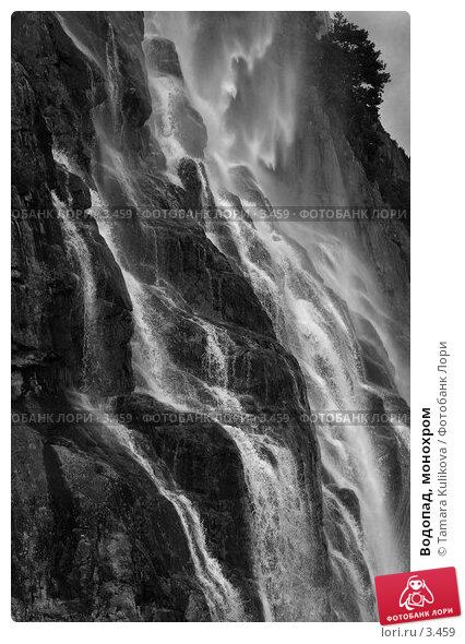 Водопад, монохром, фото № 3459, снято 27 августа 2005 г. (c) Tamara Kulikova / Фотобанк Лори