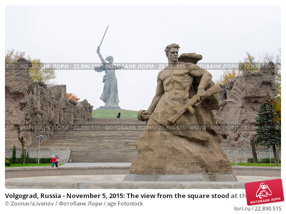 Купить «Volgograd, Russia - November 5, 2015: The view from the square stood at the death of the sculpture quot;Stand to Deathquot; and quot;Motherland Calls!quot...», фото № 22890515, снято 5 ноября 2015 г. (c) age Fotostock / Фотобанк Лори