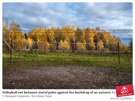 Купить «Volleyball net between metal poles against the backdrop of an autumn forest», фото № 32270611, снято 5 октября 2019 г. (c) Валерий Смирнов / Фотобанк Лори