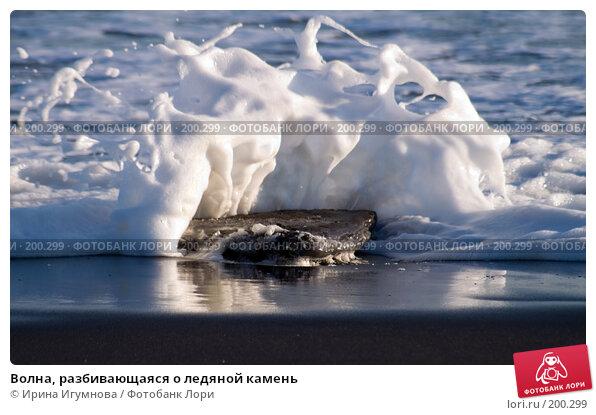 Волна, разбивающаяся о ледяной камень, фото № 200299, снято 2 февраля 2007 г. (c) Ирина Игумнова / Фотобанк Лори
