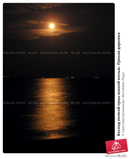 Купить «Восход полной луны южной ночью. Лунная дорожка», фото № 98203, снято 22 марта 2018 г. (c) Светлана Кучинская / Фотобанк Лори