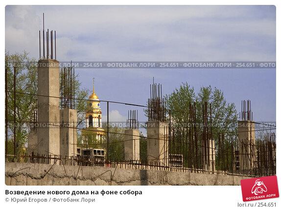 Возведение нового дома на фоне собора, фото № 254651, снято 13 апреля 2008 г. (c) Юрий Егоров / Фотобанк Лори