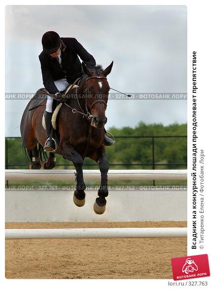 Купить «Всадник на конкурной лошади преодолевает препятствие», фото № 327763, снято 15 июня 2008 г. (c) Титаренко Елена / Фотобанк Лори