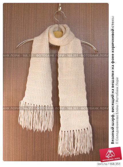 Купить «Вязаный шарф, висящий на вешалке на фоне коричневой стены», фото № 168351, снято 12 февраля 2007 г. (c) Солодовникова Елена / Фотобанк Лори