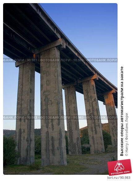 Купить «Высокие опоры автомагистрали на закате», фото № 90983, снято 17 августа 2007 г. (c) Harry / Фотобанк Лори