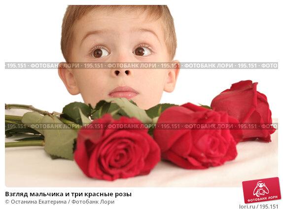 Взгляд мальчика и три красные розы, фото № 195151, снято 12 октября 2007 г. (c) Останина Екатерина / Фотобанк Лори