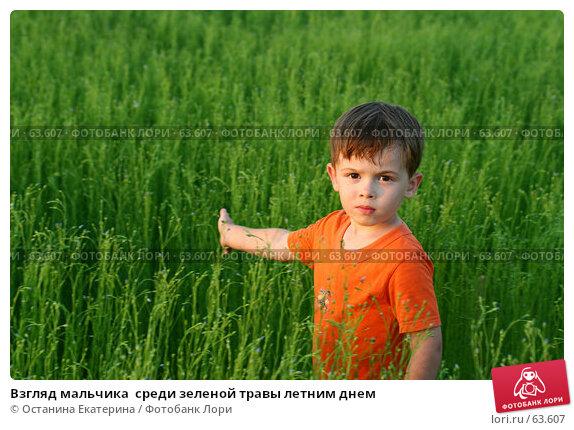 Взгляд мальчика  среди зеленой травы летним днем, фото № 63607, снято 7 июля 2007 г. (c) Останина Екатерина / Фотобанк Лори