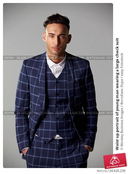 Купить «Waist up portrait of young man wearing a large check suit», фото № 24620239, снято 2 марта 2016 г. (c) easy Fotostock / Фотобанк Лори
