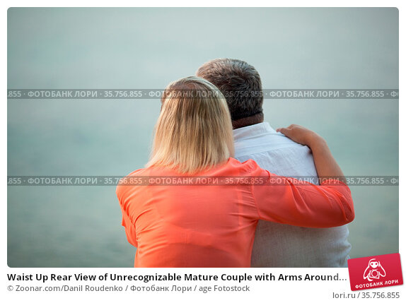 Waist Up Rear View of Unrecognizable Mature Couple with Arms Around... Стоковое фото, фотограф Zoonar.com/Danil Roudenko / age Fotostock / Фотобанк Лори