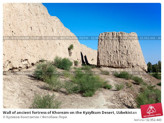Wall of ancient fortress of Khorezm on the Kyzylkum Desert, Uzbekistan. Стоковое фото, фотограф Куликов Константин / Фотобанк Лори
