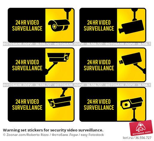 Warning set stickers for security video surveillance. Стоковое фото, фотограф Zoonar.com/Roberto Rizzo / easy Fotostock / Фотобанк Лори