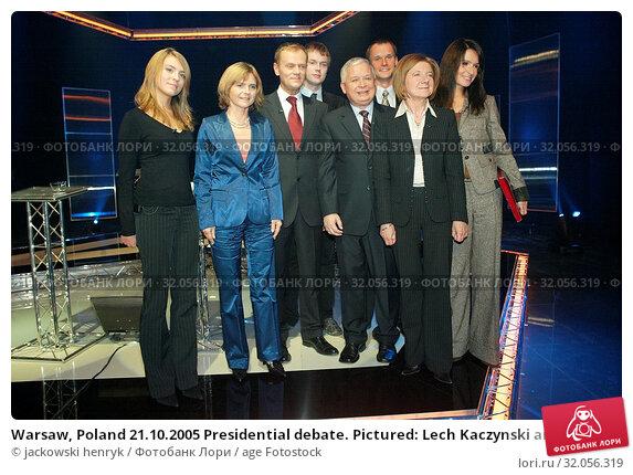 Warsaw, Poland 21.10.2005 Presidential debate. Pictured: Lech Kaczynski and Donald Tusk with them families. Редакционное фото, фотограф jackowski henryk / age Fotostock / Фотобанк Лори