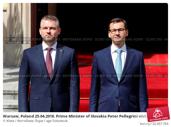 Warsaw, Poland 25.04.2018. Prime Minister of Slovakia Peter Pellegrini visiting Poland. Pictured: Peter Pellegrini and PM of Poland Mateusz Morawiecki. Редакционное фото, фотограф Kleta / age Fotostock / Фотобанк Лори