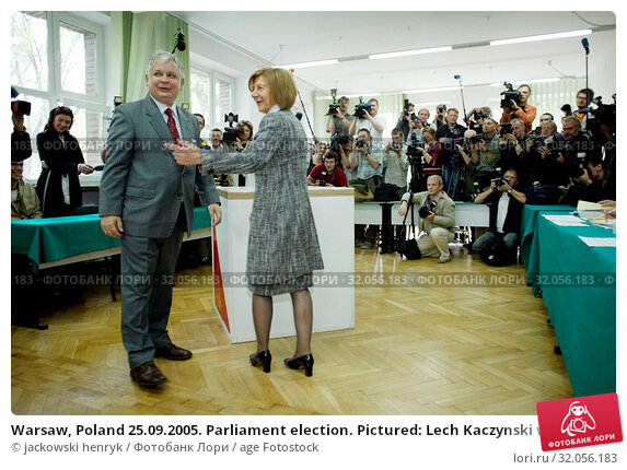 Warsaw, Poland 25.09.2005. Parliament election. Pictured: Lech Kaczynski with his wife Maria. Редакционное фото, фотограф jackowski henryk / age Fotostock / Фотобанк Лори