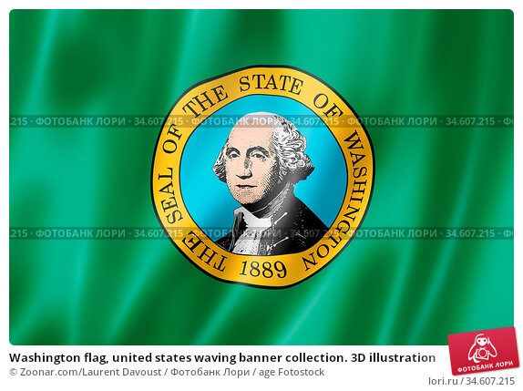 Washington flag, united states waving banner collection. 3D illustration. Стоковое фото, фотограф Zoonar.com/Laurent Davoust / age Fotostock / Фотобанк Лори