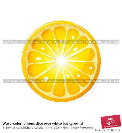Watercolor lemons slice over white background. Стоковое фото, фотограф Zoonar.com/Richard Laschon / easy Fotostock / Фотобанк Лори